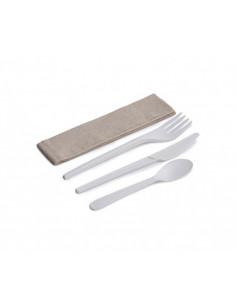 Conjunto de faca, garfo, colher de chá e guardanapo Kraft CPLA